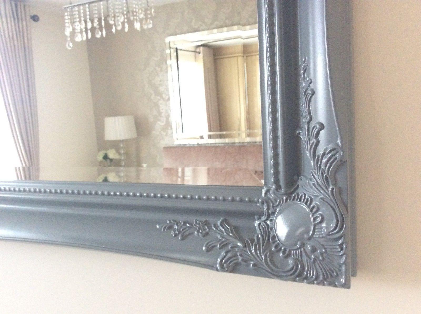 X LARGE Grey Satin Shabby Chic Ornate Decorative Wall